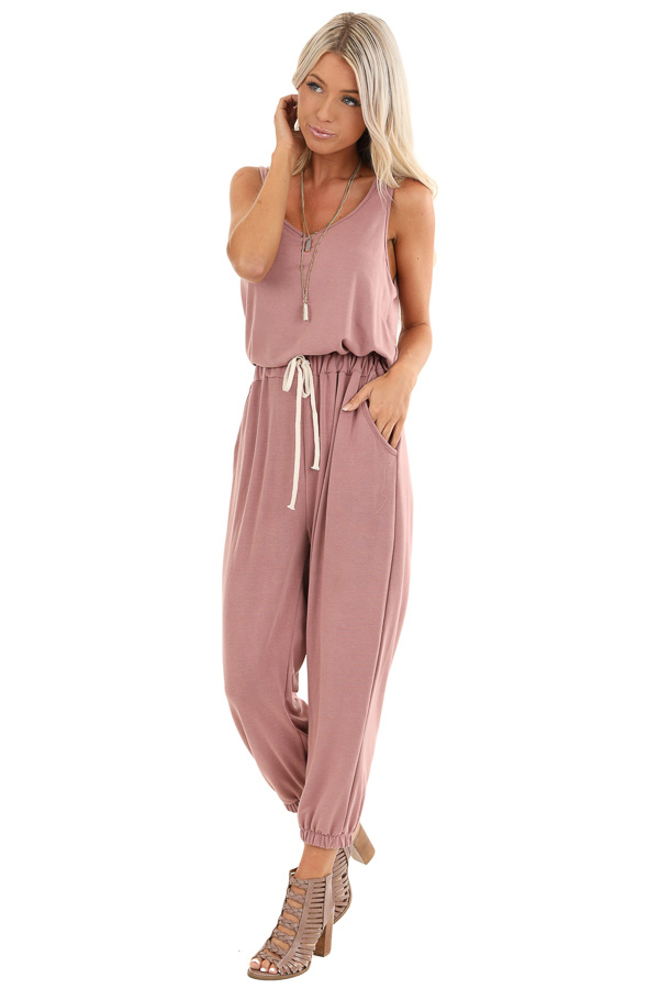 Mauve Sleeveless Jumpsuit with Waist Tie and Side Pockets front full body