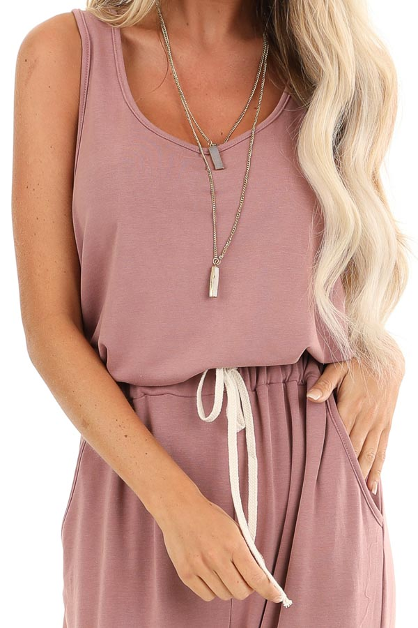 Mauve Sleeveless Jumpsuit with Waist Tie and Side Pockets detail