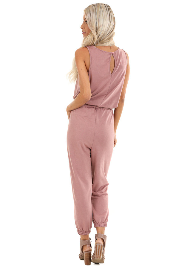 Mauve Sleeveless Jumpsuit with Waist Tie and Side Pockets back full body