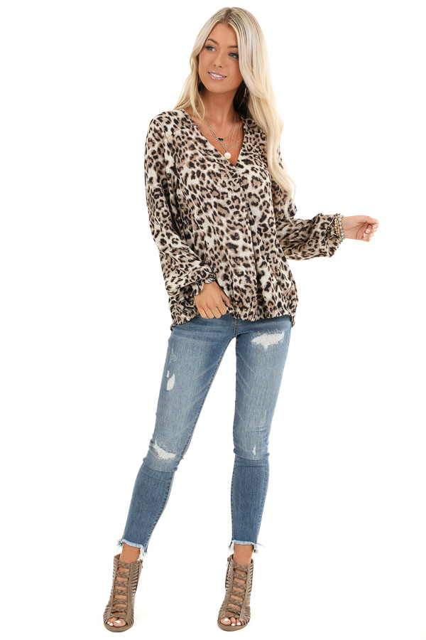 Taupe Leopard Print Surplice Long Bubble Sleeve Top front full body