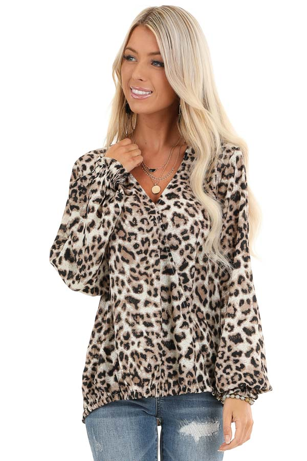 Taupe Leopard Print Surplice Long Bubble Sleeve Top front close up