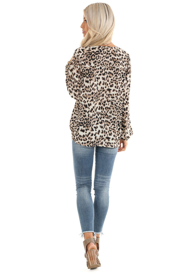 Taupe Leopard Print Surplice Long Bubble Sleeve Top back full body