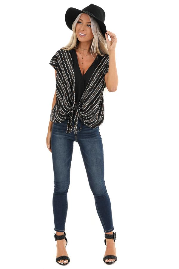 Midnight Black Multi Print Surplice Top with Front Self Tie front full body