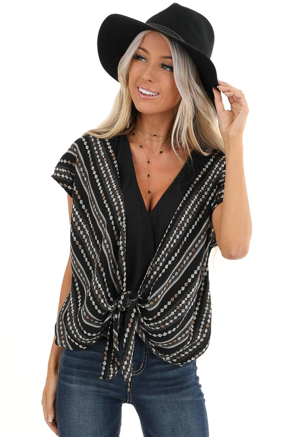Midnight Black Multi Print Surplice Top with Front Self Tie front close up