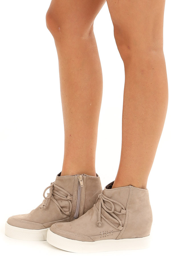 Taupe Faux Suede Wedge Sneakers with Lace Up Tie Detail side view