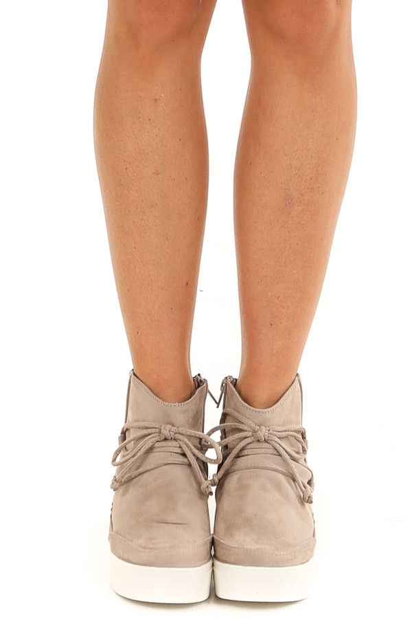 Taupe Faux Suede Wedge Sneakers with Lace Up Tie Detail front view