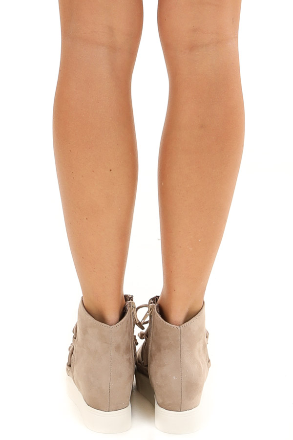 Taupe Faux Suede Wedge Sneakers with Lace Up Tie Detail back view