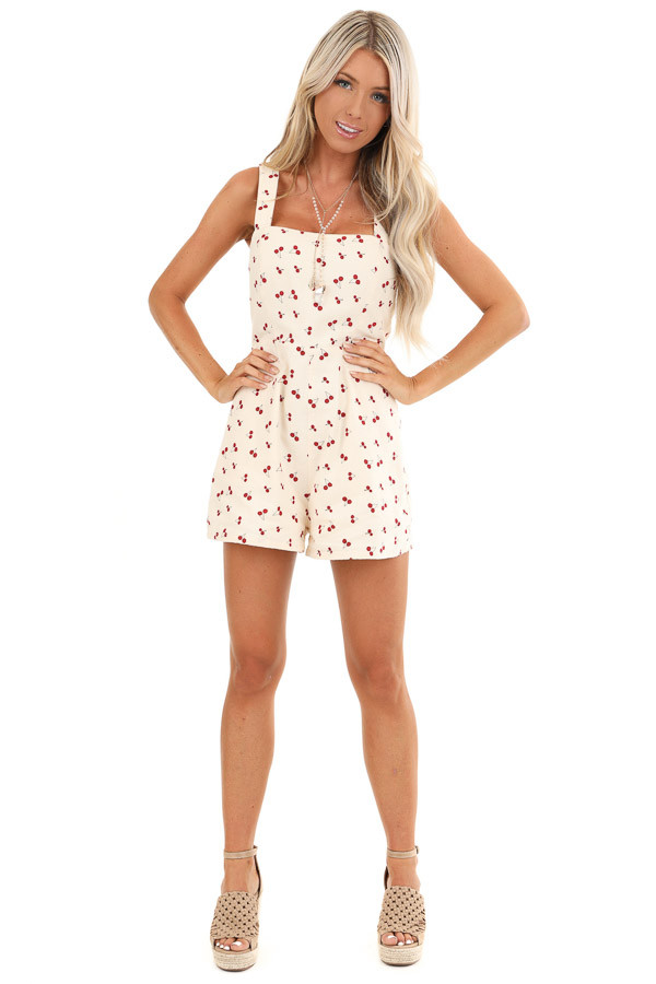 Cream Cherry Print Sleeveless Romper with Side Pockets front full body