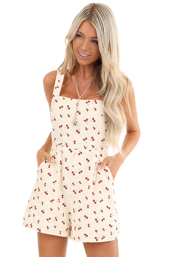 Cream Cherry Print Sleeveless Romper with Side Pockets front close up