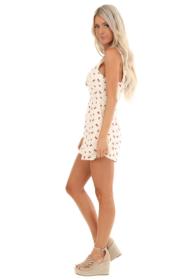 Cream Cherry Print Sleeveless Romper with Side Pockets side full body