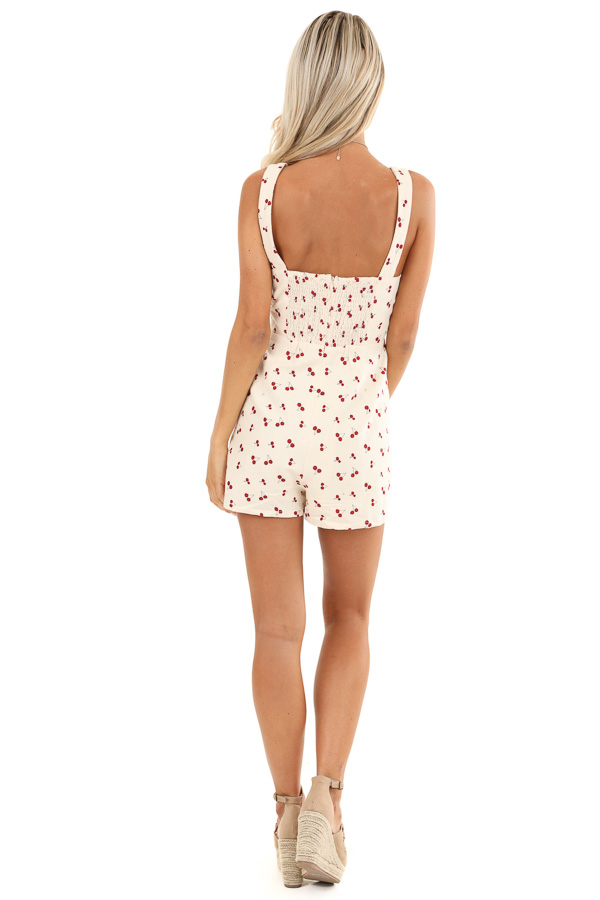 Cream Cherry Print Sleeveless Romper with Side Pockets back full body
