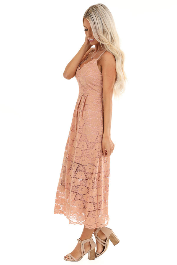 Antique Salmon Floral Lace Midi Dress with Scalloped Trim side full body