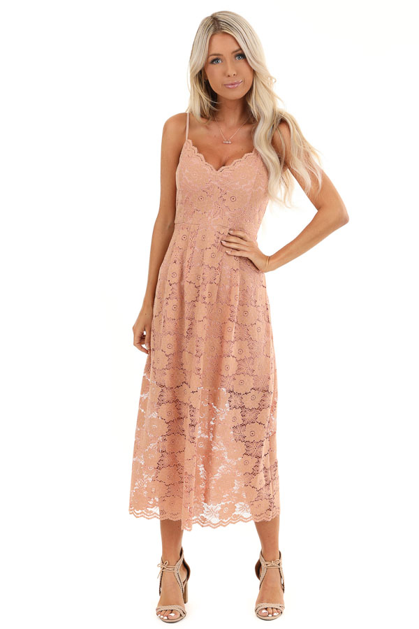 Antique Salmon Floral Lace Midi Dress with Scalloped Trim front full body