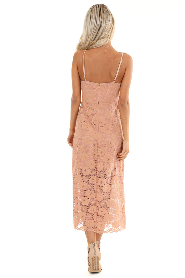 Antique Salmon Floral Lace Midi Dress with Scalloped Trim back full body