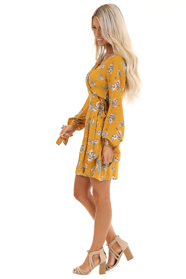 Mustard Floral Print Wrap Style Mini Dress with Self Tie side full body