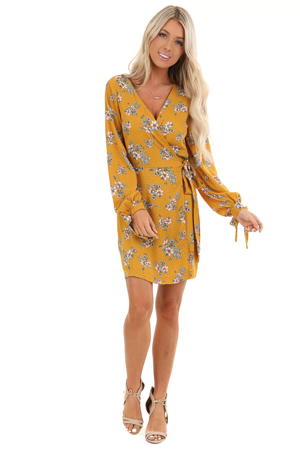 Mustard Floral Print Wrap Style Mini Dress with Self Tie front full body