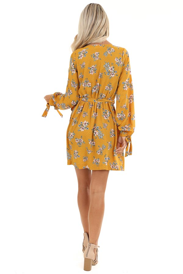 Mustard Floral Print Wrap Style Mini Dress with Self Tie back full body