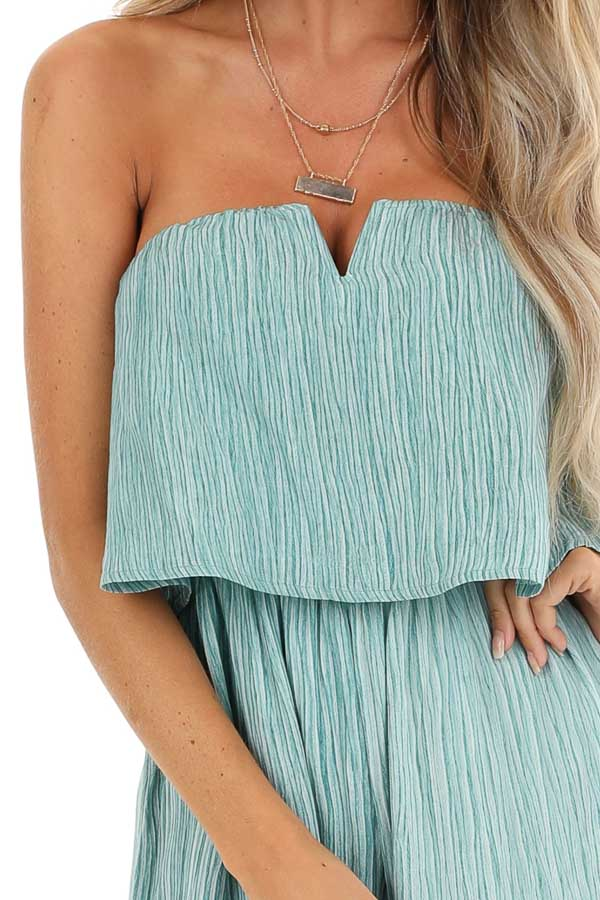 Teal and Aqua Sleeveless Jumpsuit with Loose Overlay detail