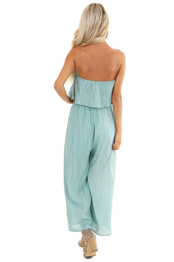 Teal and Aqua Sleeveless Jumpsuit with Loose Overlay back full body