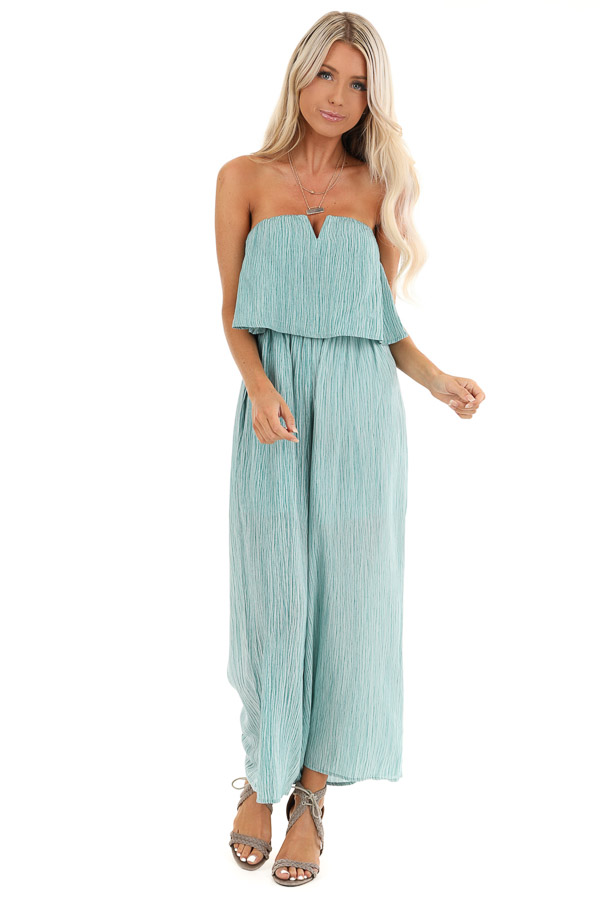 Teal and Aqua Sleeveless Jumpsuit with Loose Overlay front full body