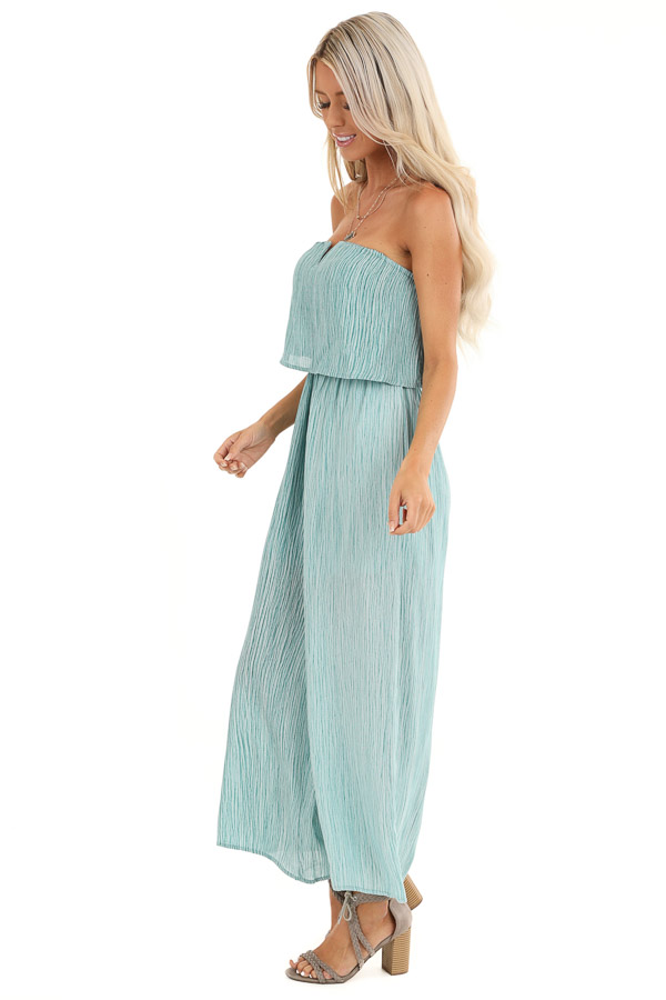 Teal and Aqua Sleeveless Jumpsuit with Loose Overlay side full body