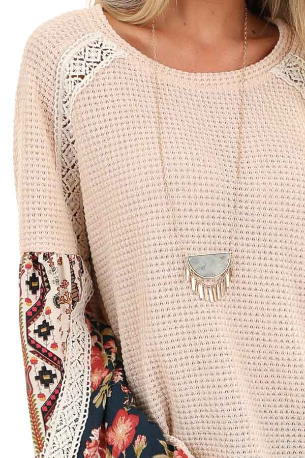 Pastel Peach Multi Print Long Sleeve Top with Lace Details detail