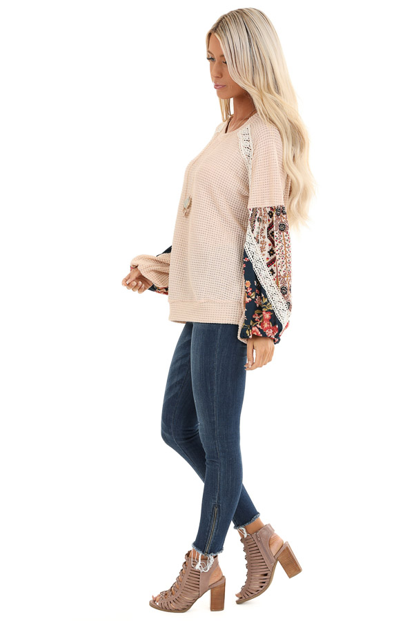 Pastel Peach Multi Print Long Sleeve Top with Lace Details side full body