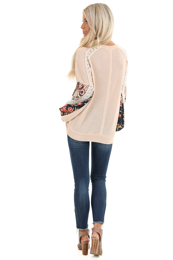 Pastel Peach Multi Print Long Sleeve Top with Lace Details back full body