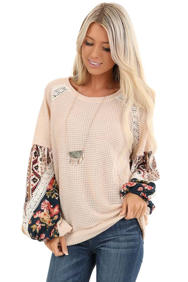 Pastel Peach Multi Print Long Sleeve Top with Lace Details front close up