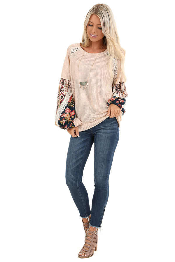 Pastel Peach Multi Print Long Sleeve Top with Lace Details front full body