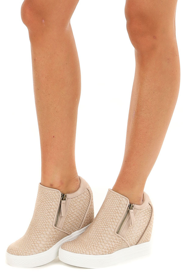 Blush Snakeskin Print Textured Wedge Sneaker with Zippers
