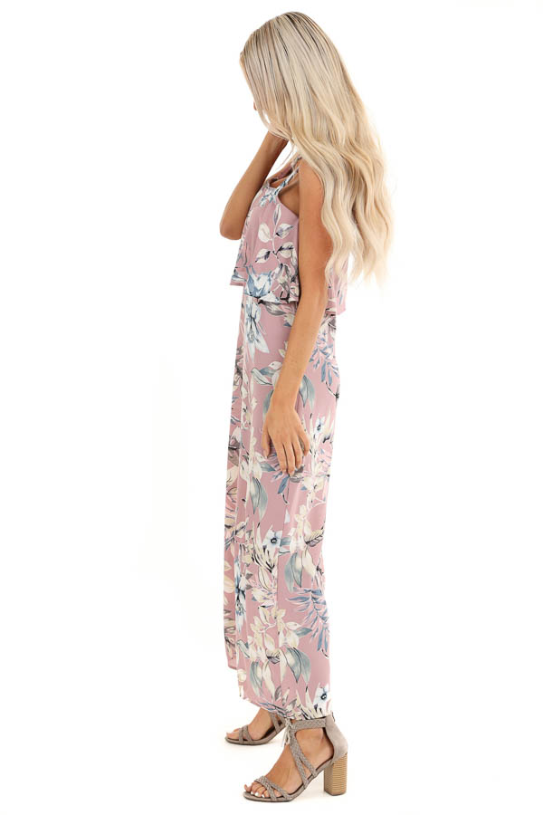 Lilac Floral Print Wide Leg Jumpsuit with Ruffle Overlay side full body