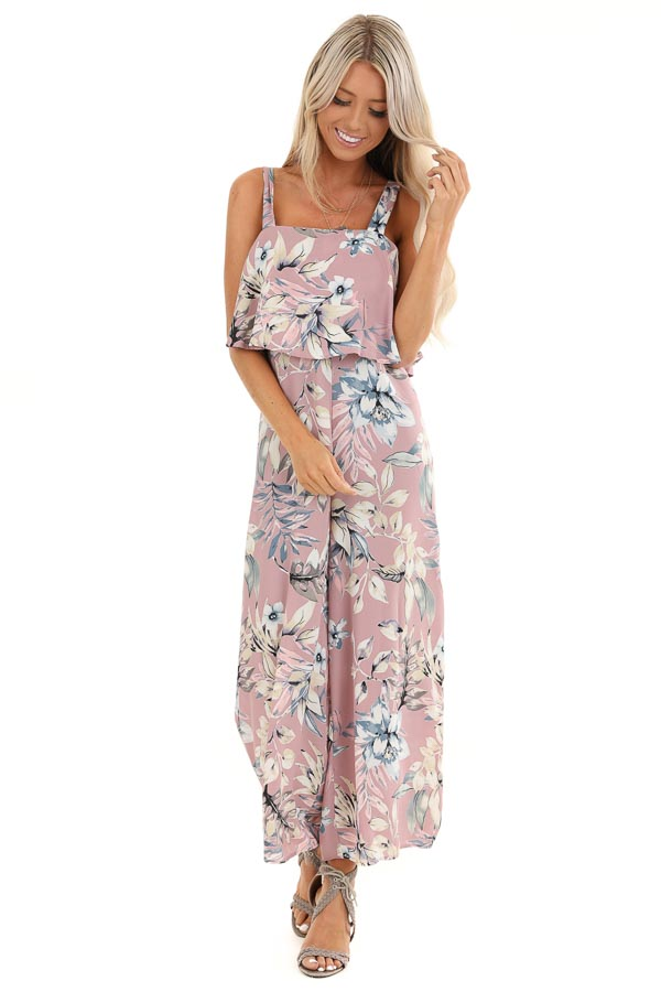 Lilac Floral Print Wide Leg Jumpsuit with Ruffle Overlay front full body