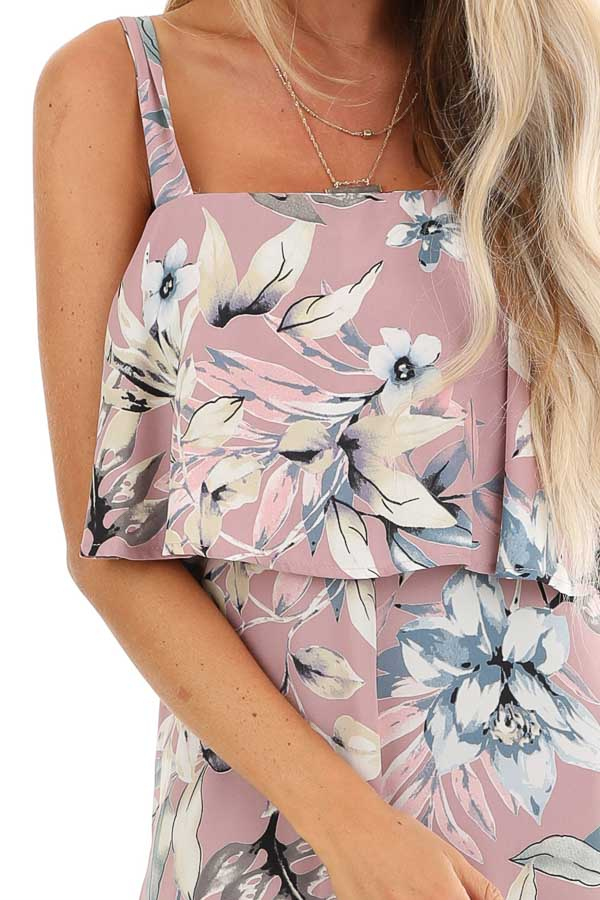 Lilac Floral Print Wide Leg Jumpsuit with Ruffle Overlay detail