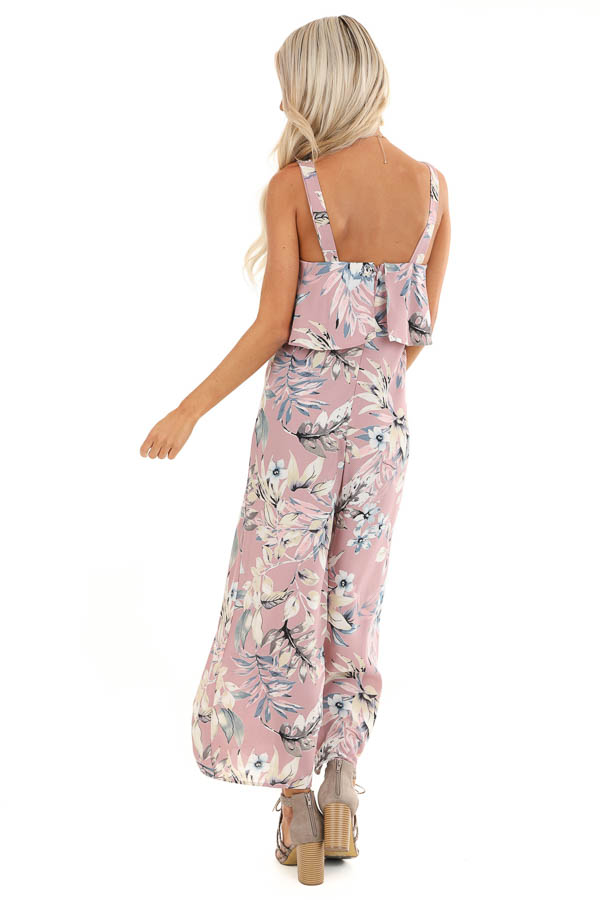 Lilac Floral Print Wide Leg Jumpsuit with Ruffle Overlay back full body