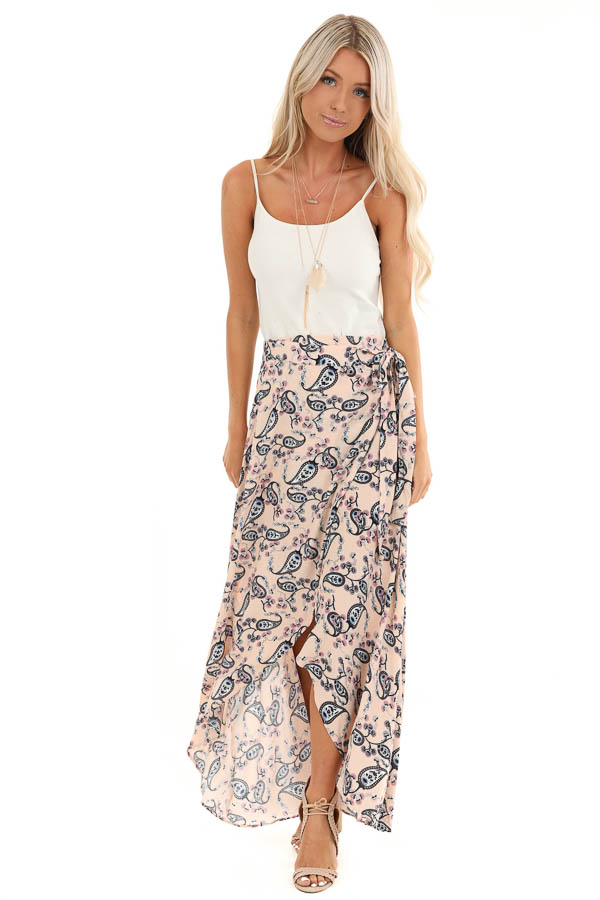Peach Paisley Print Wrap Maxi Skirt with Tie Detail front full body