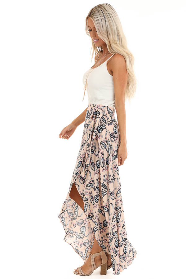 Peach Paisley Print Wrap Maxi Skirt with Tie Detail side full body