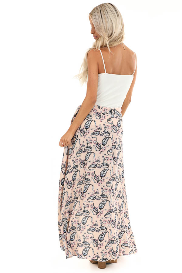 Peach Paisley Print Wrap Maxi Skirt with Tie Detail back full body