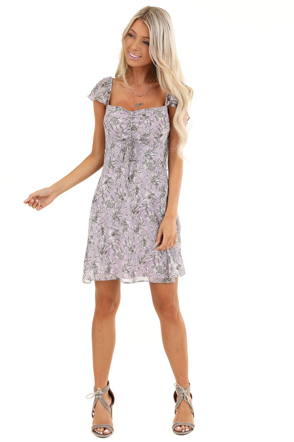 Lavender Floral Print Mini Dress with Open Back and Self Tie front full body