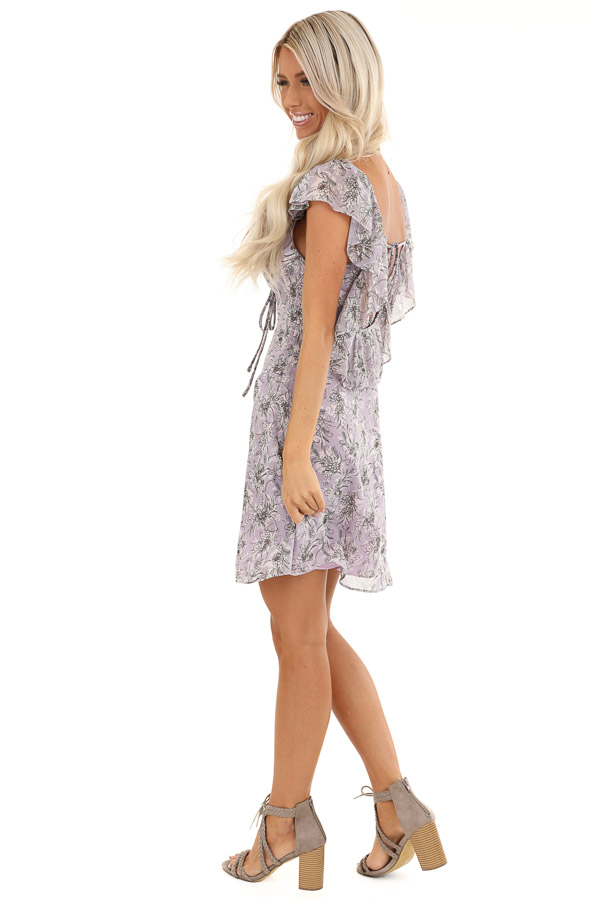 Lavender Floral Print Mini Dress with Open Back and Self Tie side full body