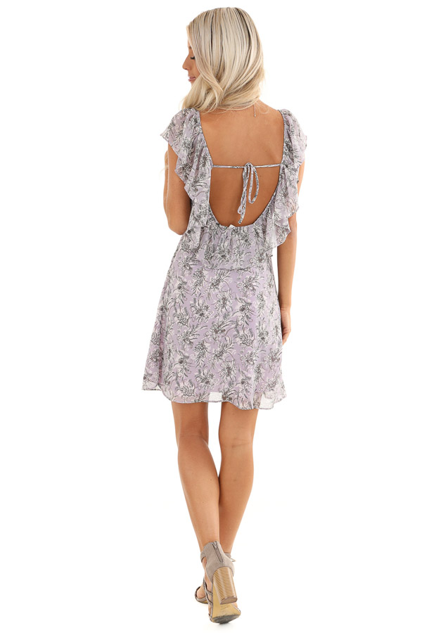 Lavender Floral Print Mini Dress with Open Back and Self Tie back full body