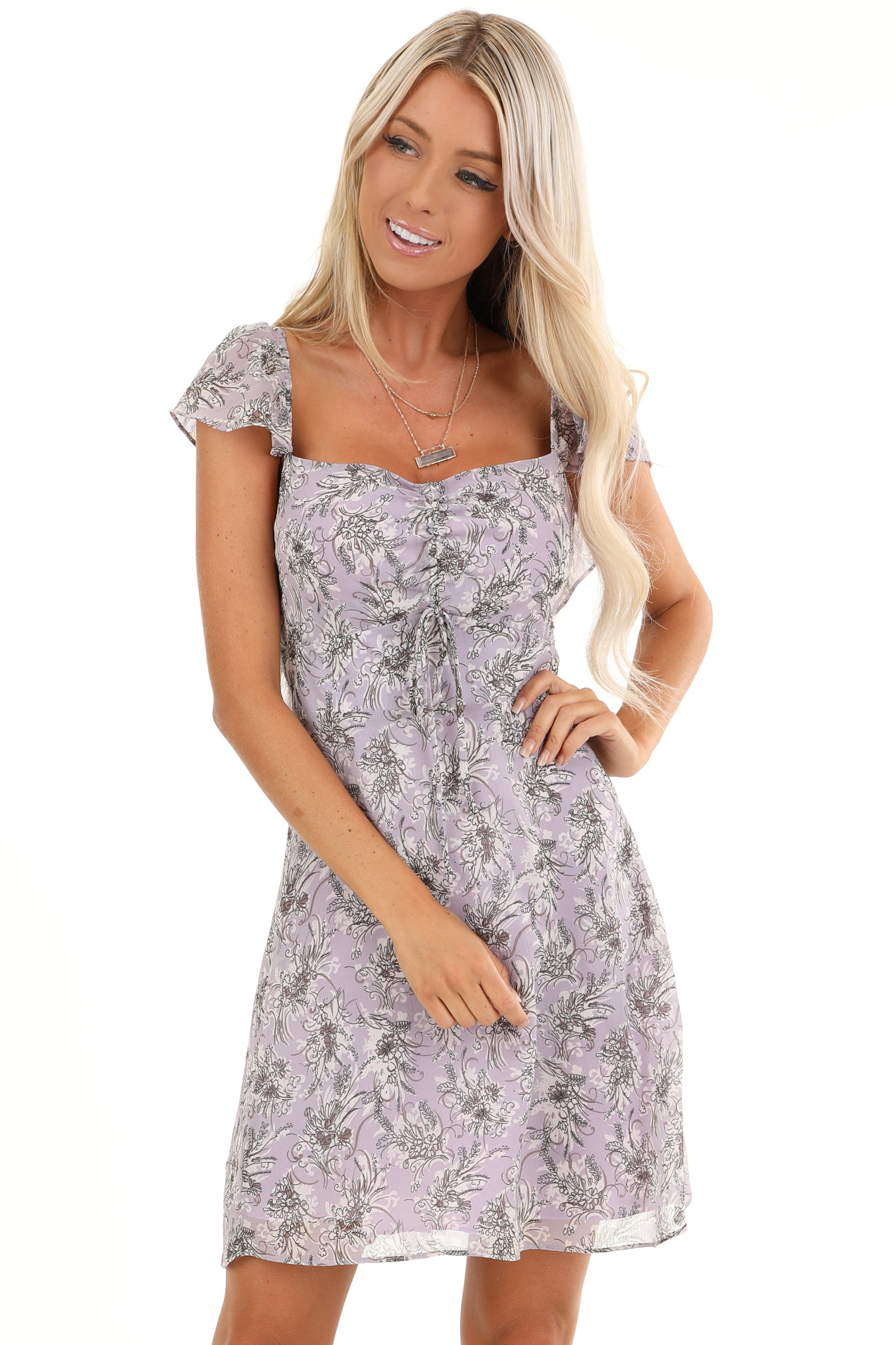 Lavender Floral Print Mini Dress with Open Back and Self Tie