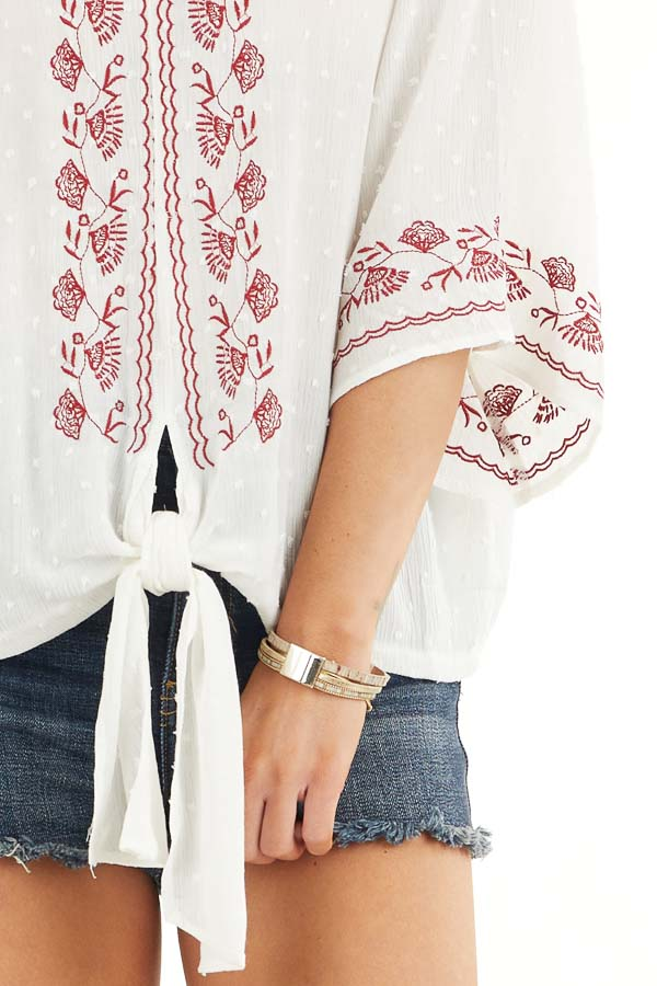 Coconut White and Scarlet Floral Embroidered Top with Tie detail