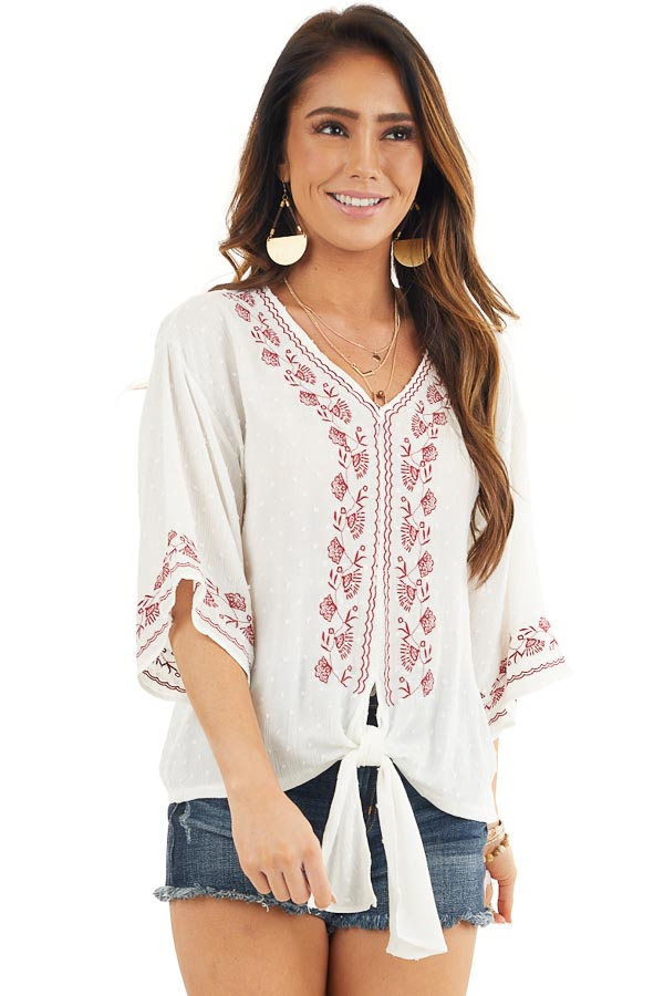 Coconut White and Scarlet Floral Embroidered Top with Tie front close up