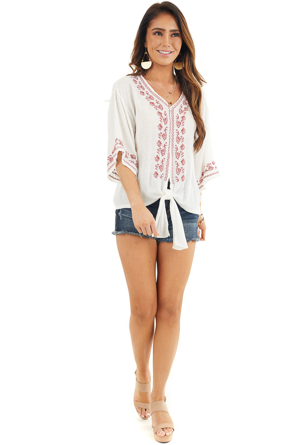 Coconut White and Scarlet Floral Embroidered Top with Tie front full body