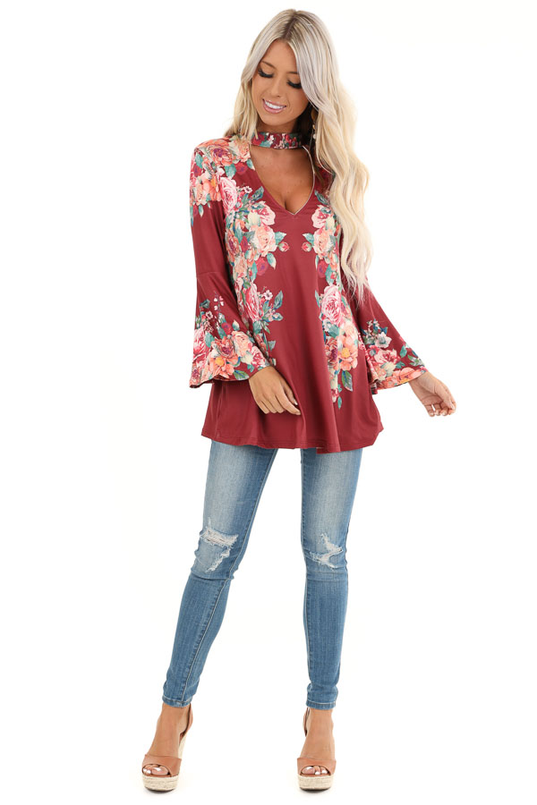 Wine Floral Print Top with Trumpet Sleeves and Choker Detail front full body