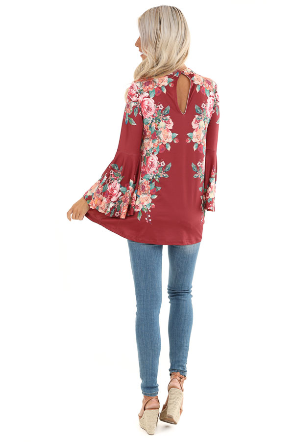 Wine Floral Print Top with Trumpet Sleeves and Choker Detail back full body