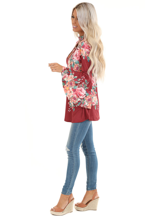 Wine Floral Print Top with Trumpet Sleeves and Choker Detail side full body