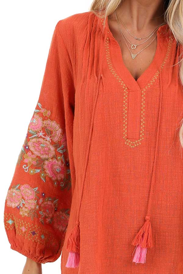 Carrot Long Sleeve Peasant Top with Embroidered Details detail