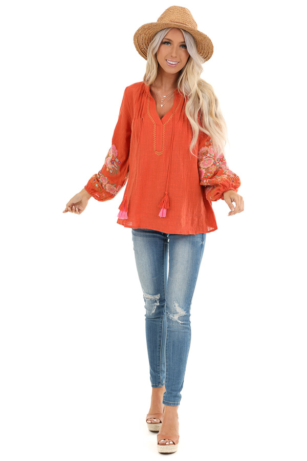 Carrot Long Sleeve Peasant Top with Embroidered Details front full body